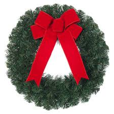 le pine artificial wreath with red bow