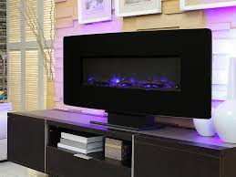 muskoka 36 in curved black wall mount electric fireplace sf310c 36