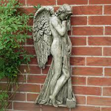 garden wall art religious angel hanging plaque decor