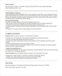 9 Sample Plumber Resume Templates Pdf Doc Free