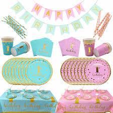Baby Shower <b>Disposable</b> Tableware <b>Boy Girl</b> 1st Birthday Party ...
