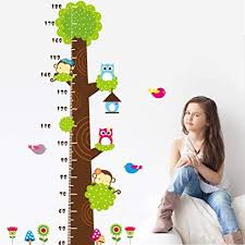 Height Measurement Growth Chart Tree Cute Monkey And Owls Wall Decal For Nursery Playroom Girls And Boys Childrens Bedroom