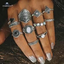 Starbeauty 10pcs/set <b>Vintage Fake Opal</b> Stone Ring <b>Leaf</b> Midi Ring ...