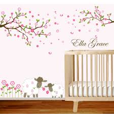 bedroom cute ella grace name nursery wall decals design with trees flower and sheep for