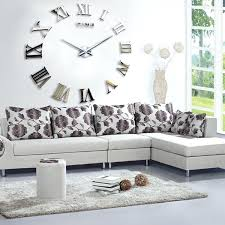 chaney wall clock oversized clock inch wall clock big silver wall clock above gray sofa chair