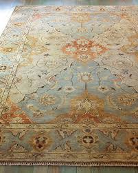 damask on blue oushak rug 4 x 6