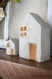 diy concrete and wood mini houses