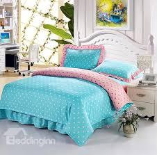 white polka dot with sky blue background cotton duvet cover sets beddinginn com