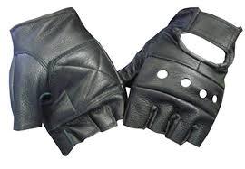 <b>Black Leather</b> Fingerless Motorcycle Biker Glove - Leatherbull (<b>Free</b>