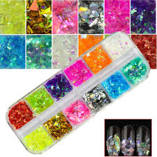 Mylar Nail Designs Amazon Com 1 Set Nail Glitter 12 Candy Color Mixed Ice