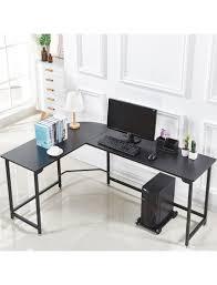 Black desks for home office Gold Black Modern Lshaped Desk Corner Computer Desk Home Office Study Workstation Wood Steel Select The Best Furniture For You Lshaped Desk