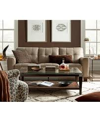 Macys Living Room Furniture Kaleb Tufted Leather Sofa Shops Leather And Products