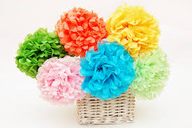 Paper Flower Tissue Paper Tissue Paper Pom Pom Flowers Kids Crafts Fun Craft