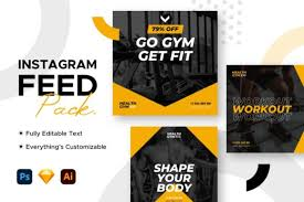 Instagram Feed Post Gym Template Graphic By Mahative Creative Fabrica