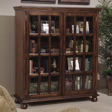 dark wood bookshelf with framed glass doors double admirable bookshelf with glass doors designs