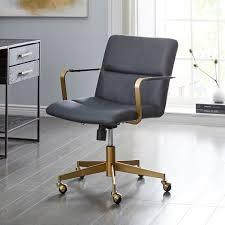 century office. Cooper Mid-Century Leather Swivel Office Chair Century