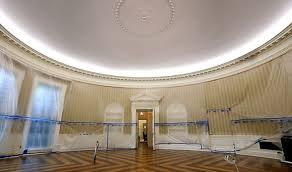 oval office wallpaper. Oval Office Wallpaper Revamp. Talk About A Dump. No Wonder The Had To Be Redone.