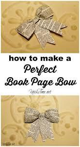diy book page bow