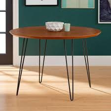 walnut round hairpin leg dining table
