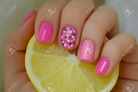 Nict Pink Nail Art With Grey And White Dots. Photo With Lemon ...