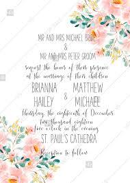 Baptism Card Template Wedding Invitation Set Blush Pastel Peach Rose Peony Sakura Watercolor Floral Baptism Card Pdf 5x7 In Online Editor