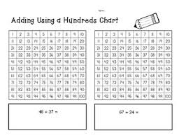 2 Digit Addition Using A Hundreds Chart Practice Worksheet
