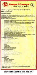 Cargo Sales Customer Service Executive Tayoa Employment Portal