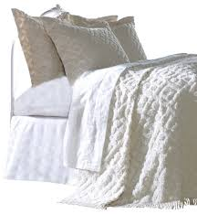 Diamond Tufted Chenille Bedspread and Pillow Sham Set ... & Diamond Tufted Chenille Bedspread and Pillow Sham Set, White, Twin  traditional-quilts- Adamdwight.com