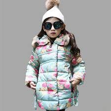<b>Girls</b> Winter Jackets Thick <b>Floral Hooded</b> Fur Jackets Kids For <b>Girls</b> ...