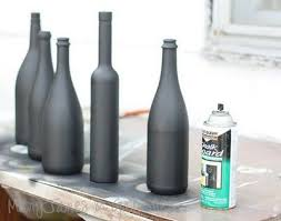 Decorative Wine Bottles Ideas DIY Tutorial Chalkboard Spray painted wine bottles using Rust 96