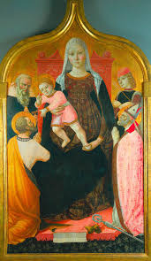 madonna and child with saints tempera and gold on wood panel 56 11