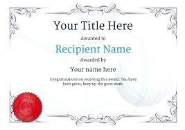 Free Professional Certificate Templates Fascinating Volleyball Award Template Saimarashid