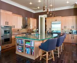 lovely ideas for kitchen islands. A Big Wooden Kitchen Island With Storage And Glass Countertop Along Blue Dining Chairs Lovely Ideas For Islands S