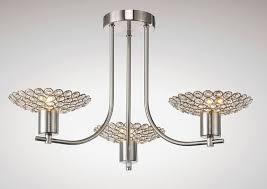 diyas il20606 ellen semi ceiling 3 light satin nickel crystal