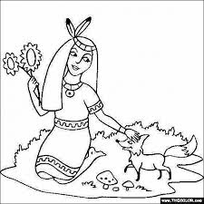 Native American Girl Coloring Pages Free American Indian Coloring