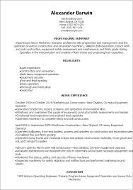 Resume Templates: Heavy Machinery Operator Resume
