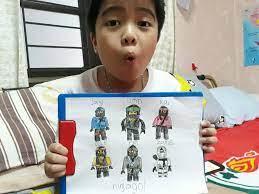 Mikhail's (น้องเสือ) NinjaGo Drawing - Jay, Lloyd, Kai, Cole, Nya and Zane  — SteemKR
