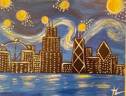 chicago skyline van gogh style