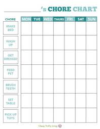 Printable Chore Chart Cheapthriftyliving Com