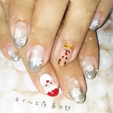 ネイル工房 春日部さんのネイルデザイン クリスマスネイルラメグラデ