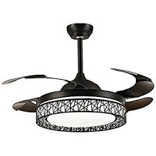 Moooni Dimmable Retractable Ceiling Fans With Lights And Remote Modern  Invisible Chandelier Fan Art Deco Black