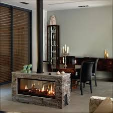 Simple fireplace in the middle of the room.