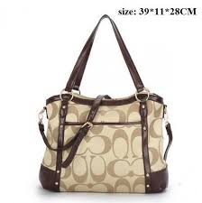 Coach Waverly Logo Large Khaki Totes 20411