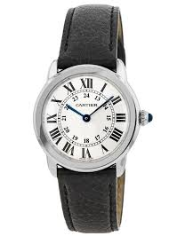 cartier ronde solo quartz black leather strap women s watch wsrn0019 watchma com