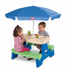 easy jr play table with umbrella blue green