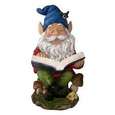 garden gnome reading book statue ornament