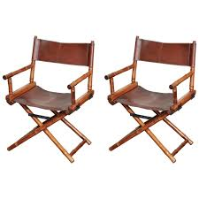 pair of bamboo and leather directors chairs circa 1960