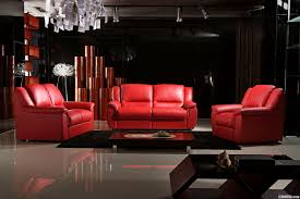 modern living room apartment design with black wall interior color decor red leather sofa wooden coffe table and white ceramic floor tiles ideas
