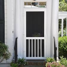 solid vinyl white 5 bar screen door