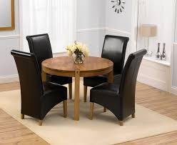 exquisite ideas dining table with leather chairs savanna oak round dining table 110cm 4 palermo